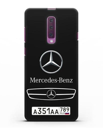 Чехол Мерседес Бенц с номерным знаком силикон черный для Samsung Galaxy A90 [SM-A908N]