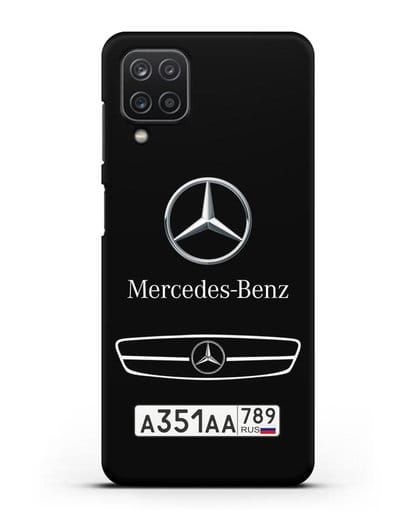 Чехол Мерседес Бенц с номерным знаком силикон черный для Samsung Galaxy A12 [SM-A125F]