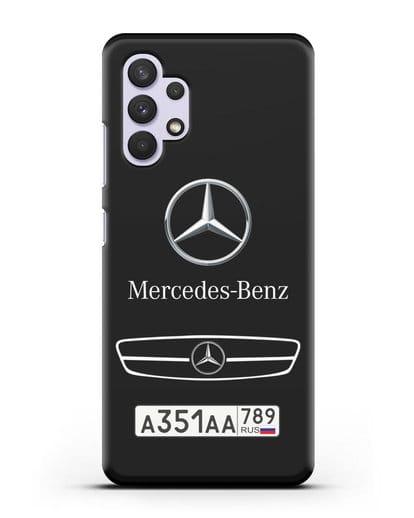 Чехол Мерседес Бенц с номерным знаком силикон черный для Samsung Galaxy A32 4G [SM-A325F]