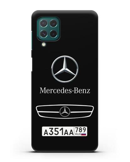 Чехол Мерседес Бенц с номерным знаком силикон черный для Samsung Galaxy M62 [SM-M625F]