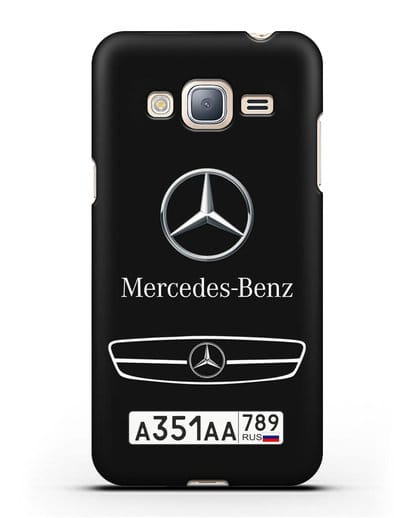 Чехол Мерседес Бенц с номерным знаком силикон черный для Samsung Galaxy J3 2016 [SM-J320F]