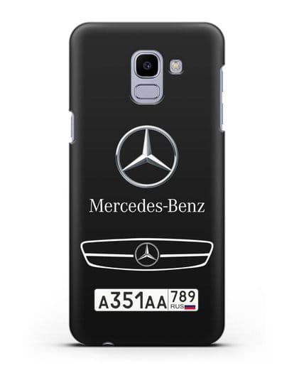 Чехол Мерседес Бенц с номерным знаком силикон черный для Samsung Galaxy J6 2018 [SM-J600F]