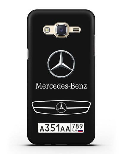Чехол Мерседес Бенц с номерным знаком силикон черный для Samsung Galaxy J7 2015 [SM-J700H]