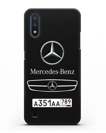 Чехол Мерседес Бенц с номерным знаком силикон черный для Samsung Galaxy M01 [SM-M015F]