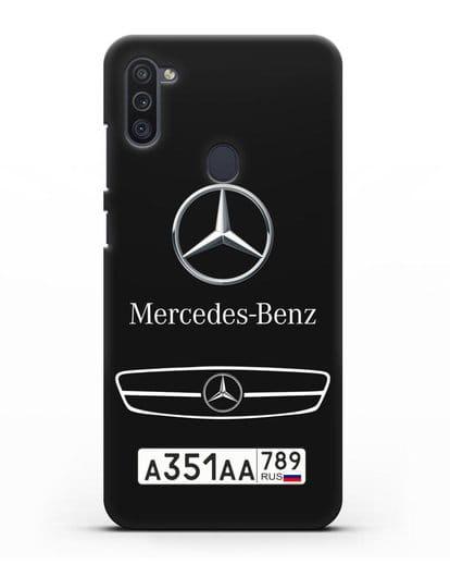 Чехол Мерседес Бенц с номерным знаком силикон черный для Samsung Galaxy M11 [SM-M115F]