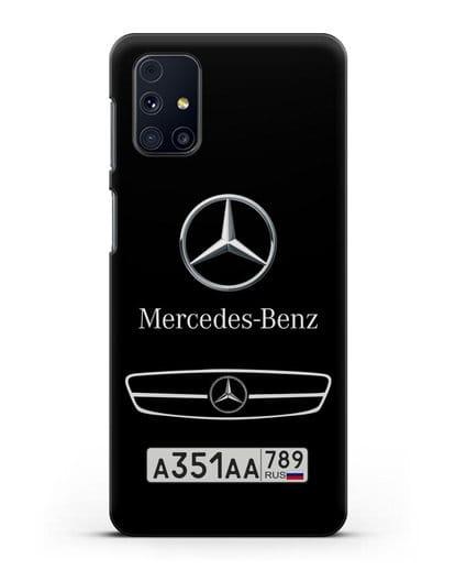Чехол Мерседес Бенц с номерным знаком силикон черный для Samsung Galaxy M31s [SM-M317F]