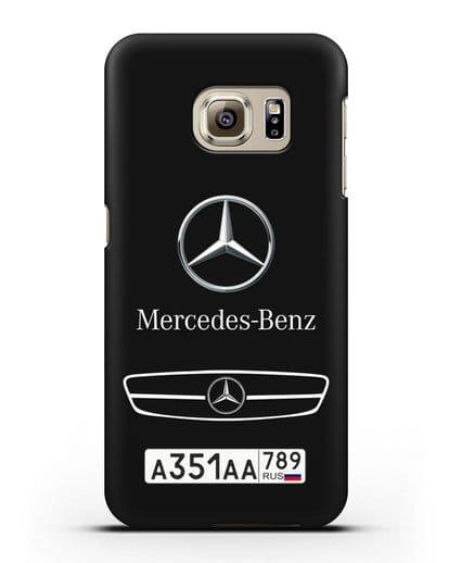 Чехол Мерседес Бенц с номерным знаком силикон черный для Samsung Galaxy S6 [SM-G920F]
