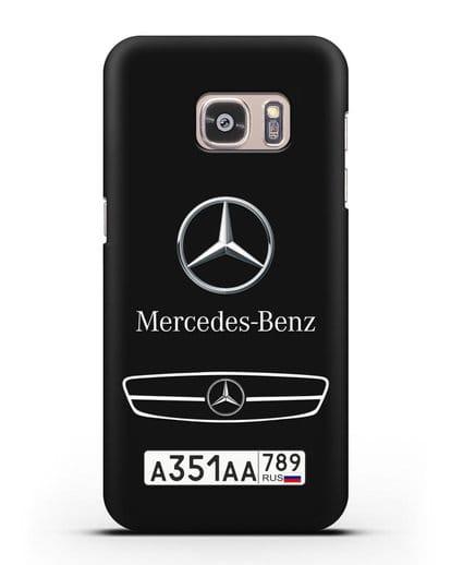 Чехол Мерседес Бенц с номерным знаком силикон черный для Samsung Galaxy S7 [SM-G930F]