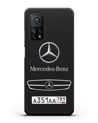 Чехол Мерседес Бенц с номерным знаком силикон черный для Xiaomi Mi 10t Pro