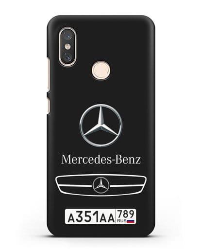 Чехол Мерседес Бенц с номерным знаком силикон черный для Xiaomi Mi 8