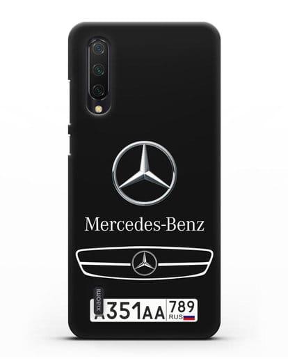 Чехол Мерседес Бенц с номерным знаком силикон черный для Xiaomi Mi 9 Lite