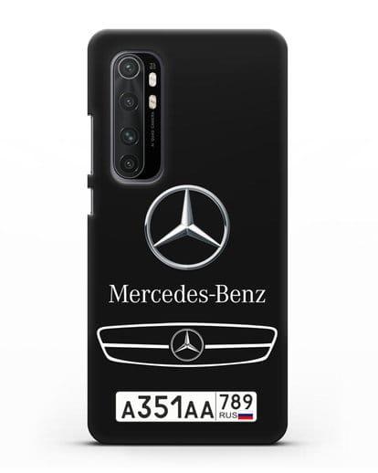 Чехол Мерседес Бенц с номерным знаком силикон черный для Xiaomi Mi Note 10 lite