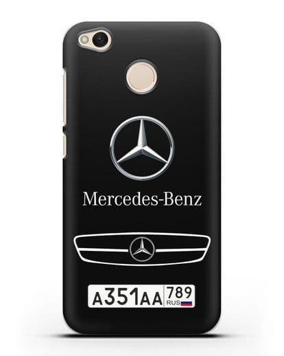 Чехол Мерседес Бенц с номерным знаком силикон черный для Xiaomi Redmi 4X