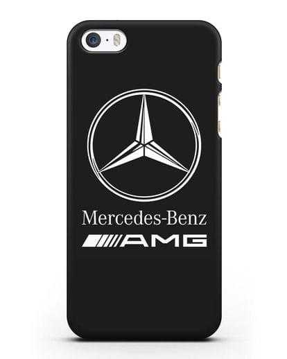 Чехол с логотипом Mercedes Benz AMG силикон черный для iPhone 5/5s/SE
