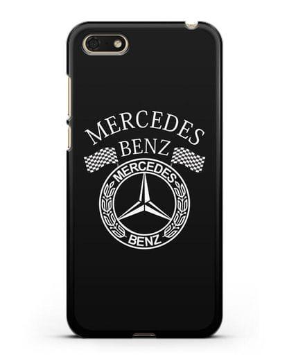 Чехол с надписью и логотипом Мерседес Бенц силикон черный для Honor 7А