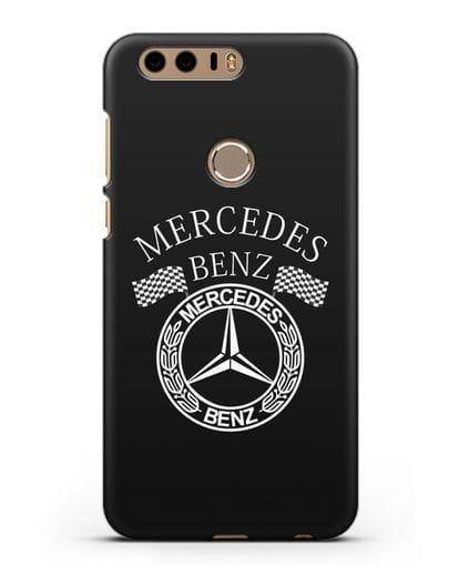 Чехол с надписью и логотипом Мерседес Бенц силикон черный для Honor 8