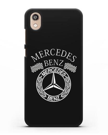 Чехол с надписью и логотипом Мерседес Бенц силикон черный для Honor 8S