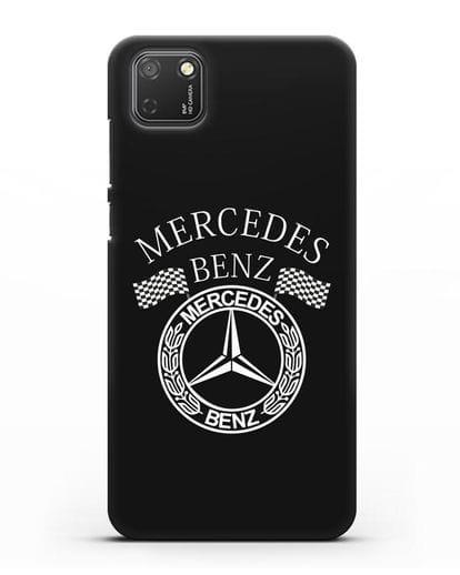 Чехол с надписью и логотипом Мерседес Бенц силикон черный для Honor 9S