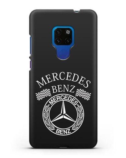 Чехол с надписью и логотипом Мерседес Бенц силикон черный для Huawei Mate 20