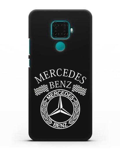 Чехол с надписью и логотипом Мерседес Бенц силикон черный для Huawei Mate 30 Lite