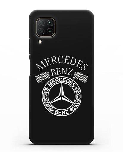 Чехол с надписью и логотипом Мерседес Бенц силикон черный для Huawei P40 lite