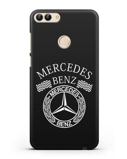 Чехол с надписью и логотипом Мерседес Бенц силикон черный для Huawei P Smart