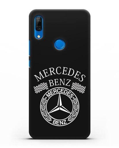 Чехол с надписью и логотипом Мерседес Бенц силикон черный для Huawei P Smart Z