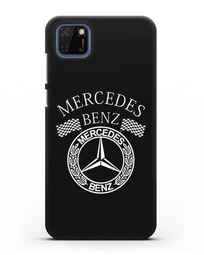 Чехол с надписью и логотипом Мерседес Бенц силикон черный для Huawei Y5P