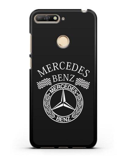 Чехол с надписью и логотипом Мерседес Бенц силикон черный для Huawei Y6 Prime 2018