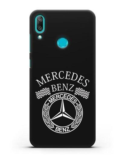 Чехол с надписью и логотипом Мерседес Бенц силикон черный для Huawei Y7 2019
