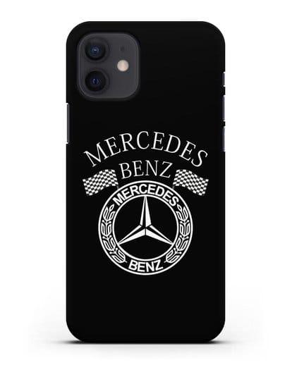 Чехол с надписью и логотипом Мерседес Бенц силикон черный для iPhone 12