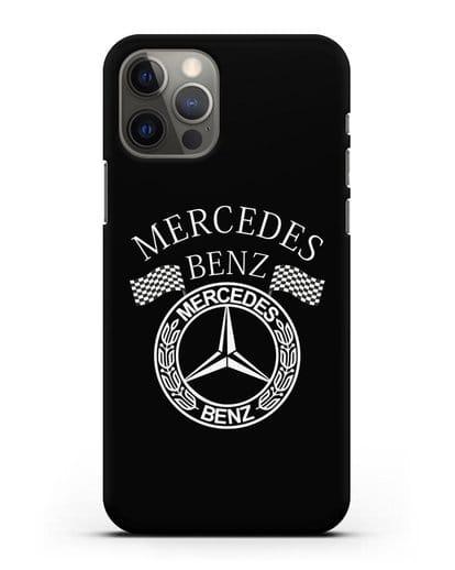 Чехол с надписью и логотипом Мерседес Бенц силикон черный для iPhone 12 Pro