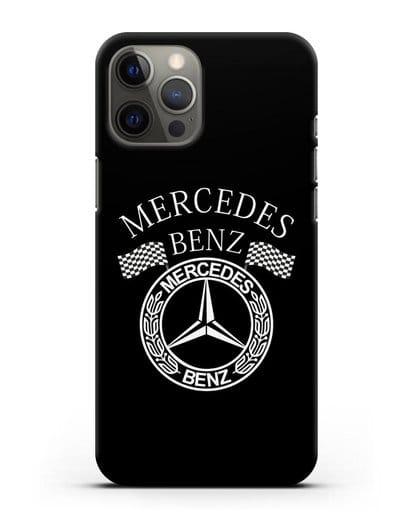 Чехол с надписью и логотипом Мерседес Бенц силикон черный для iPhone 12 Pro Max