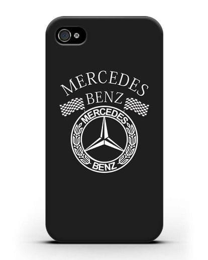 Чехол с надписью и логотипом Мерседес Бенц силикон черный для iPhone 4/4s