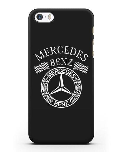 Чехол с надписью и логотипом Мерседес Бенц силикон черный для iPhone 5/5s/SE