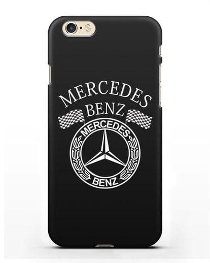 Чехол с надписью и логотипом Мерседес Бенц силикон черный для iPhone 6