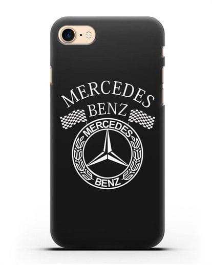 Чехол с надписью и логотипом Мерседес Бенц силикон черный для iPhone 8