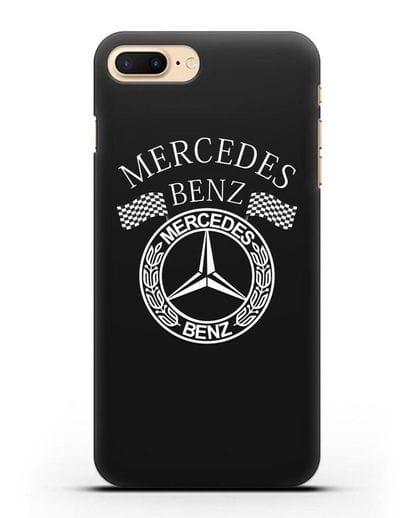 Чехол с надписью и логотипом Мерседес Бенц силикон черный для iPhone 7 Plus