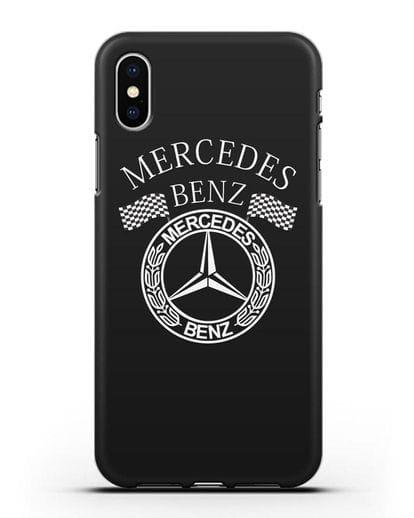 Чехол с надписью и логотипом Мерседес Бенц силикон черный для iPhone X