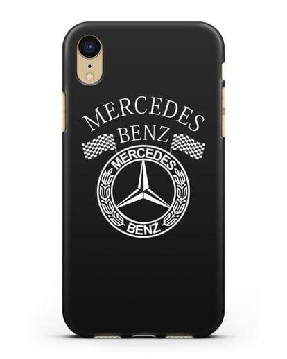 Чехол с надписью и логотипом Мерседес Бенц силикон черный для iPhone XR