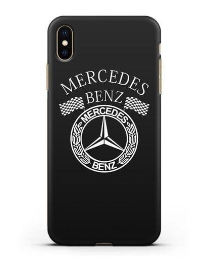 Чехол с надписью и логотипом Мерседес Бенц силикон черный для iPhone XS Max