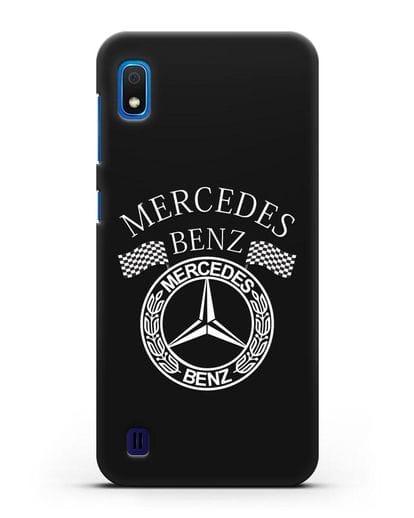 Чехол с надписью и логотипом Мерседес Бенц силикон черный для Samsung Galaxy A10 [SM-A105F]