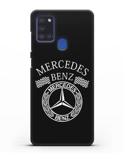 Чехол с надписью и логотипом Мерседес Бенц силикон черный для Samsung Galaxy A21s [SM-A217F]