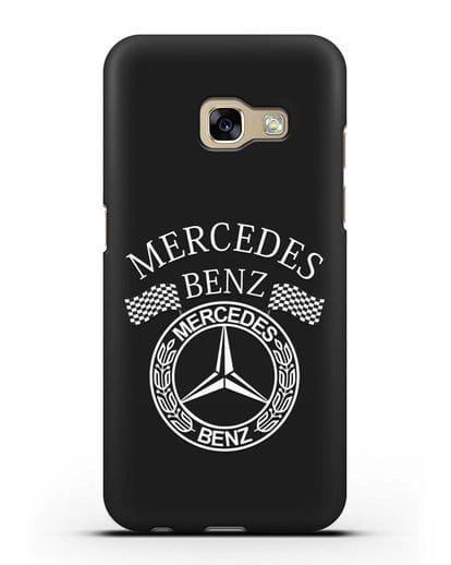 Чехол с надписью и логотипом Мерседес Бенц силикон черный для Samsung Galaxy A3 2017 [SM-A320F]