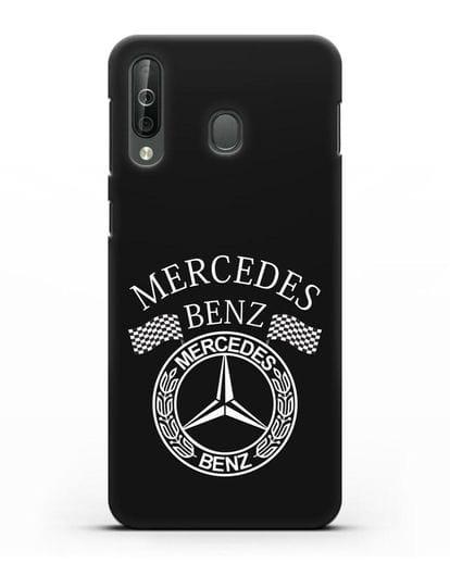 Чехол с надписью и логотипом Мерседес Бенц силикон черный для Samsung Galaxy A40s [SM-A507FN]
