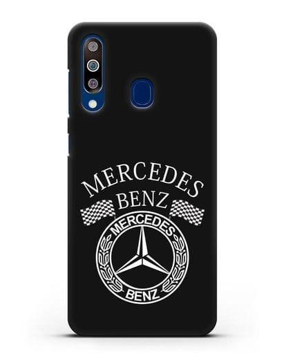 Чехол с надписью и логотипом Мерседес Бенц силикон черный для Samsung Galaxy A60 [SM-A606F]
