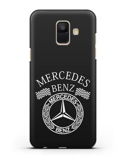Чехол с надписью и логотипом Мерседес Бенц силикон черный для Samsung Galaxy A6 2018 [SM-A600F]
