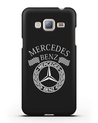 Чехол с надписью и логотипом Мерседес Бенц силикон черный для Samsung Galaxy J3 2016 [SM-J320F]