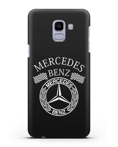 Чехол с надписью и логотипом Мерседес Бенц силикон черный для Samsung Galaxy J6 2018 [SM-J600F]