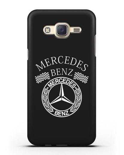 Чехол с надписью и логотипом Мерседес Бенц силикон черный для Samsung Galaxy J7 2015 [SM-J700H]